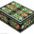 """5""""x 4"""" Black Marble Belgium Box Malachite Inlay Collectible Art Gifts For Friend"""