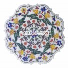 """32"""" White Marble Serving Dish Plate Inlay Semi Precious Inlay Marquetry Gift Art"""