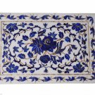 Indian White Makrana Serving Tray Plate Lapis Inlay Marquetry Elegant Decor