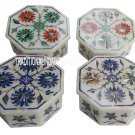 Set of 4 White Marble Jewelry Box Mosaic Inlay Pietradure Decor Eid Gifts Box