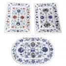 Set of 3 White Marble Plate Tray Real Gem Marquetry Floral Inlay Kitchen Decor