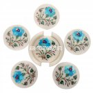 White Marble Coaster Set Turquoise Stone Art Inlay Kitchen Table Decor Home Gift