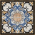 """36"""" Traditional Marble Side Garden Table Top Marquetry Inlay Italian Arts H5288"""