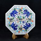 "10"" Elephant Inlaid Art Marble Dish Plate Lapis Inlaid Marquetry Decor H5429B"