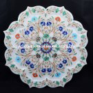 "12"" Designer Marble Plate Multi Precious Inlay Gemstone Kitchen Gift Decor H5450"