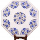 """18""""x18""""  Marble Coffee Corner Table Top Lapis Floral Inlay Mosaic Patio Decor"""
