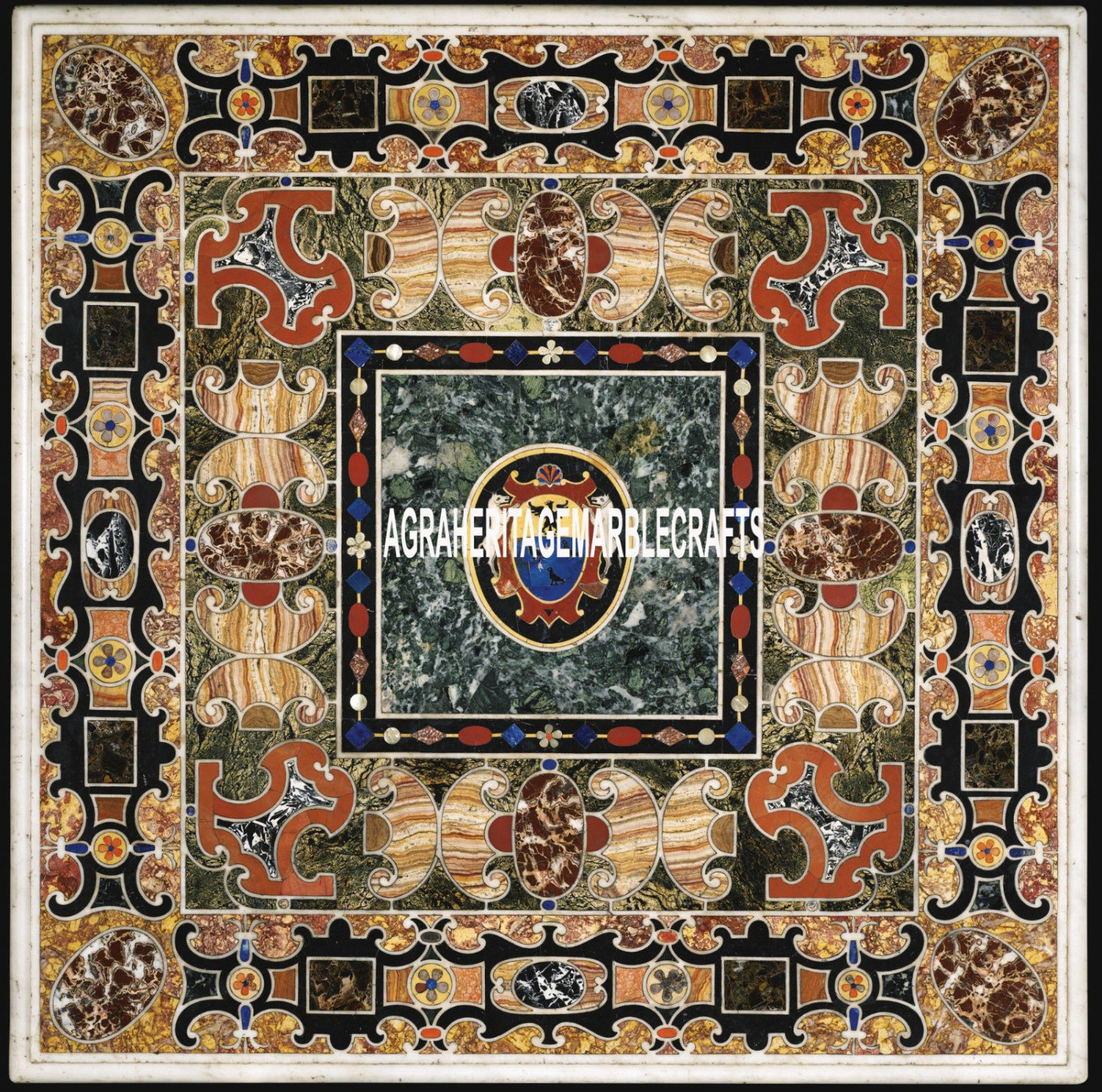 """48"""" Exclusive Marble Dining Table Scagliola Inlay Collectible Patio Decor H3959"""