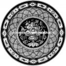 30'' Black Marble Round Mosaic Table Top Mother of Pearl Inlay Marquetry Decor