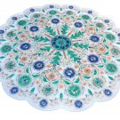 White Marble Round Plate Rare Malachite Inlay Micro Mosaic Floral Art Home Decor