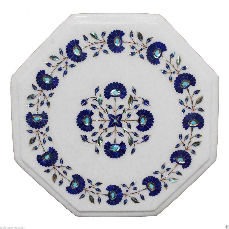 "12""x12"" Marble Coffee Table Top Rare Lapis Gem Inlay Pietra Dura Home Decor"