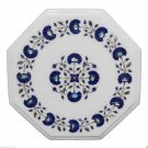 "12""x12"" Marble Coffee Table Top Rare Lapis Gem Inlay Pietra Dura Home Decor"