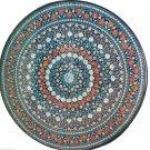 4'x4' Black Round Marble Dining Table Carnelian Mosaic Top Multi Art Decor H938A