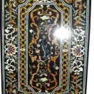 4'x2.5' Black Marble Dining Table Top Console Handmade Home Decor Mosaic Arts