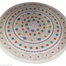 3'x3' White Marble Round Dining Coffee Table Top Inlay Multi Marquetry Art H903