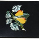 """10"""" Black Marble Side Coffee Table Top Fruits Art Mosaic Inlay Furniture Decor"""