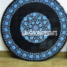 """36"""" Black Marble Round Center Dining Table Turquoise Inlaid Outdoor Patio Decor"""