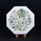 """9"""" Designer Marble Dish Plate Inlay Stones Floral Art Kitchen Gift Decor H5434A"""