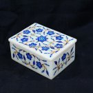 "6""x4""x2"" Designer Marble Storage Box Lapis Marquetry Inlay Valentine Gift H5519A"