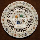"""10""""  Floral Art Marble Grill Plate Mosaic Inlay Occasional Kitchen Decor H4051"""