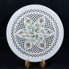 """12"""" Marble Round Grill Serving Plate Gemstone Inlay Dining Table Decor H5441B"""