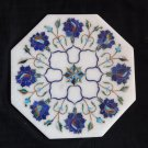 "8"" White Marble Tile Lapis Lazuli Handmade Pietra Dura Art Floral Home Decor Art"