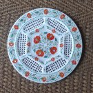 """12"""" Marble Plate Rare Hakik Floral Inlaid Design Marquetry Grill Handmade Decor"""