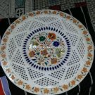 White Marble Filligree Round Plate Hakik Multi Inlay Work Interior Decor H4493