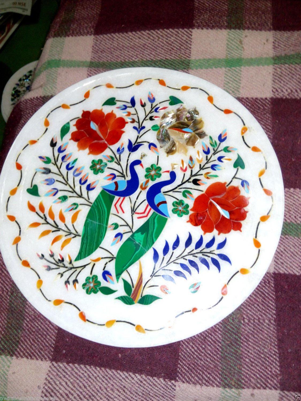 """12"""" Marble Plate Handmade Peacock Art Paua Shell Hakik Floral High Inlaid H3220"""