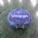 Marble Coffee Tea Plate Coaster Set Gemstone Inlay Art Lapis Marquetry Art Decor