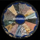 Black Round Marble Coffee Table Top Multi Stone Inlay Outdoor Decorative H3936