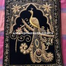 Zardozi Carpet Elegant Rug With Peacock Art Precious Stone Golden Wire Work M115