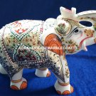 Marble Elephant Statue Hand Painted Traditional Arts Good Luck Gift Decor H4201