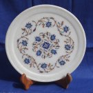 "8"" Decorative White Marble Plate Semi Precious Hakik Inlay Arts Handmade Gifts"
