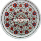 """12"""" Marble Round Serving Plate Marquetry Carnelian Inlaid Kitchen Decor H3182A"""