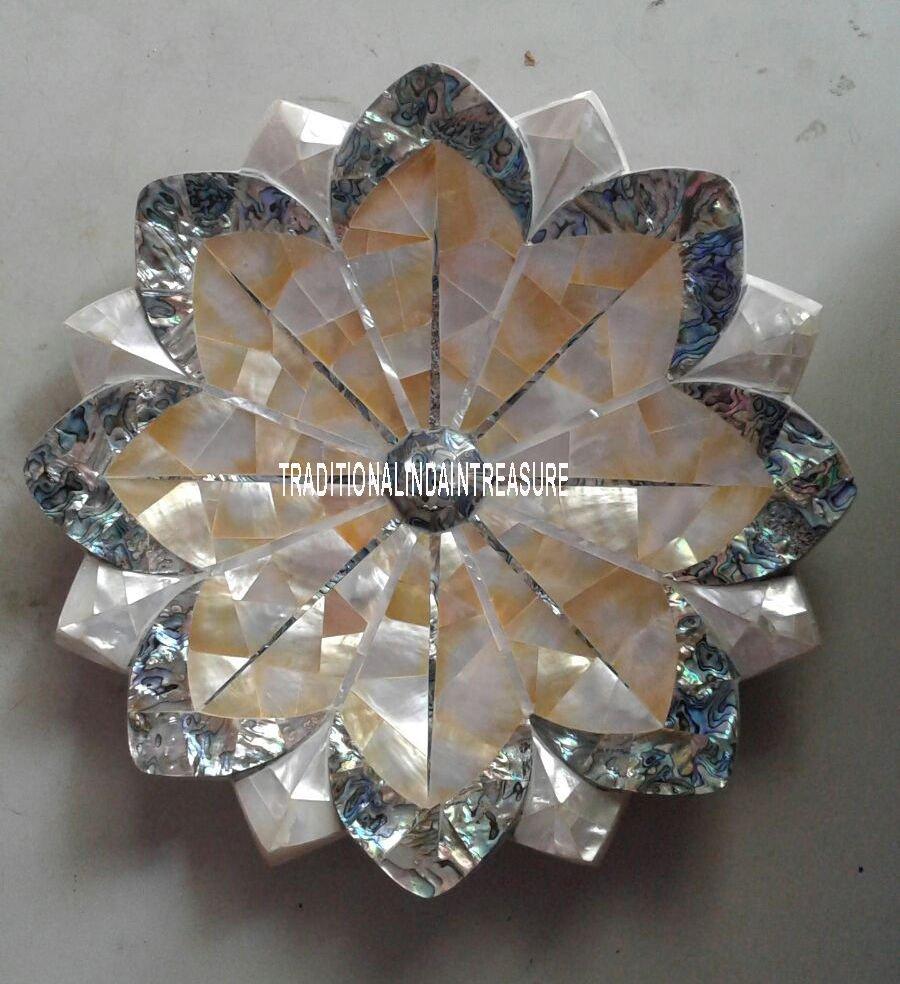 "12"" White Marble Fruit Bowl Rare Abalone Stone Semi Precious Table Decor Gifts"
