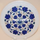 """14"""" White Marble Beautiful Plate Marquetry Inlay Lapis Floral Kitchen Gift Decor"""