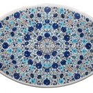 White Marble Table Top PietraDura Turquoise Lapis Inlay Occasional Decor H504