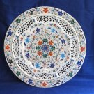 """15"""" Decorative White Marble Plate Filigree Handmade Kitchen Table Decor Gifts"""