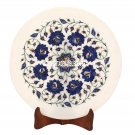 12'' White Marble Serving Round Plate Lapis Floral Inlaid Marquetry Decor H3580