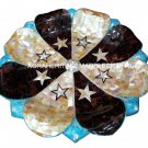 """15"""" Fine Marble Dry Fruit Bowl Abalone Stone Kitchen Décor Inlay Work Marquetry"""