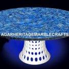 Marble Dining Table Top Mosaic Lapis Stone Inlay Pietra Dura Outdoor Decor H2054