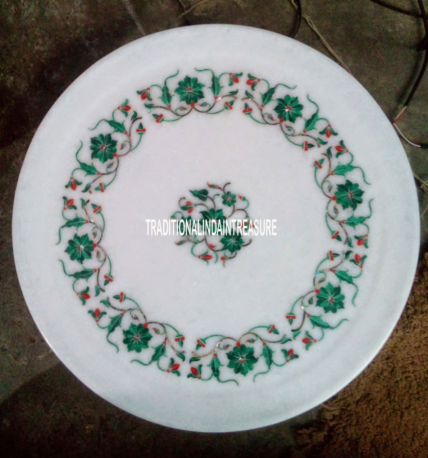 """12"""" Marble White Round Plate Real Malachite Stone Floral Work Inlay Mosaic Decor"""
