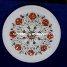 Marble Kitchen Decorative Plate Handmade Inlay Arts Carnelian Floral Decor H4076