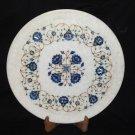 "16"" Marble Floral Plate Lapis Lazuli Handmade Marquetry Home Decor Art Mosaic"