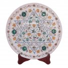 """14"""" Marble Round Cake Plate Malachite Stone Marquetry Inlay Floral Kitchen Art"""