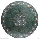 """60"""" Green Marble Coffee Dining Table Top Semi Precious Inlay Work Outdoor Décor"""