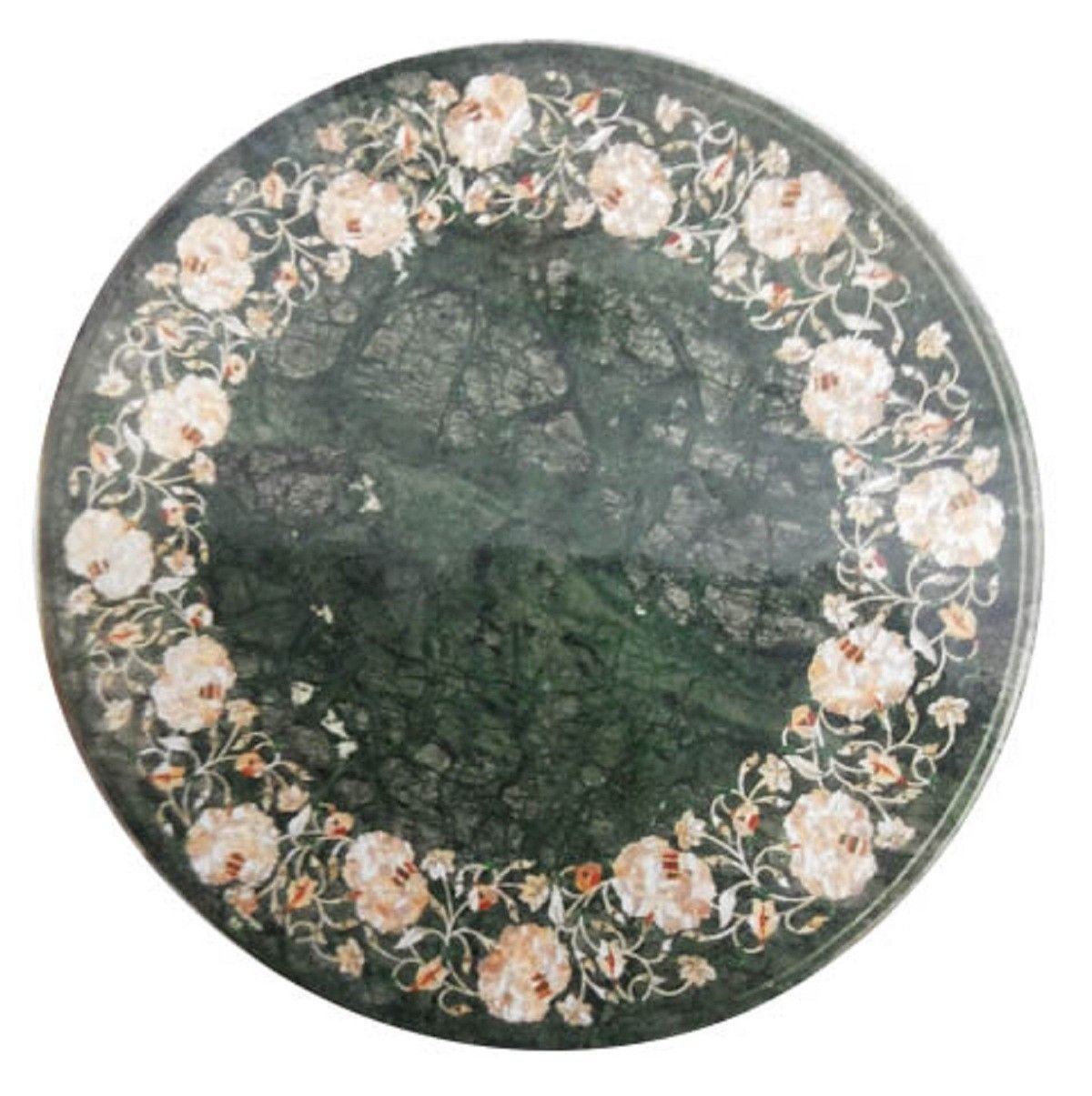 Marble Coffee Top Table Inlaid Mother of Pearl Floral Marquetry Furniture H913