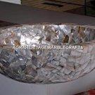 Marble Wash Basin Seashell Handmade Inlay Natural Stone Art Decorative Sink M317