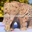 "7"" Natural Stone Marble Elephant Sculpture Hand Carved Good Luck Gift Decor M066"