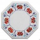 "12"" White Marble Corner Table Top Marquetry Eid Ramzan Special Hallway Decor"